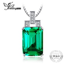 JewelryPalace Luxury 6ct Created Green Emerald Pendant 925 Sterling Silver Pendnat Jewelry Without the chain