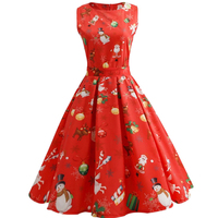 Women Vintage Retro Dress Foral Print Rockabilly Christmas Dress 1950s Style Hepburn Casual Party Swing With