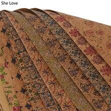 Chzimade-tela de corcho suave A3, tejido de costura Vintage con patrón de flores de 42x30cm para ropa, Diy, ropas hogar textil, materiales