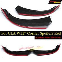 W117 Lip Splitter Front Bumper Corner Spoiler Red Carbon For CLA-W117 CLA180 CLA200 CLA250 CLA45AMG style 2014-2016
