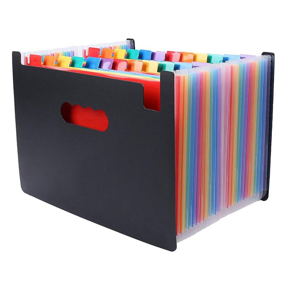 24 Pockets Expanding File Folder Large Space Design A4 Filing Folders Box File Business Home Office Document Accordion File