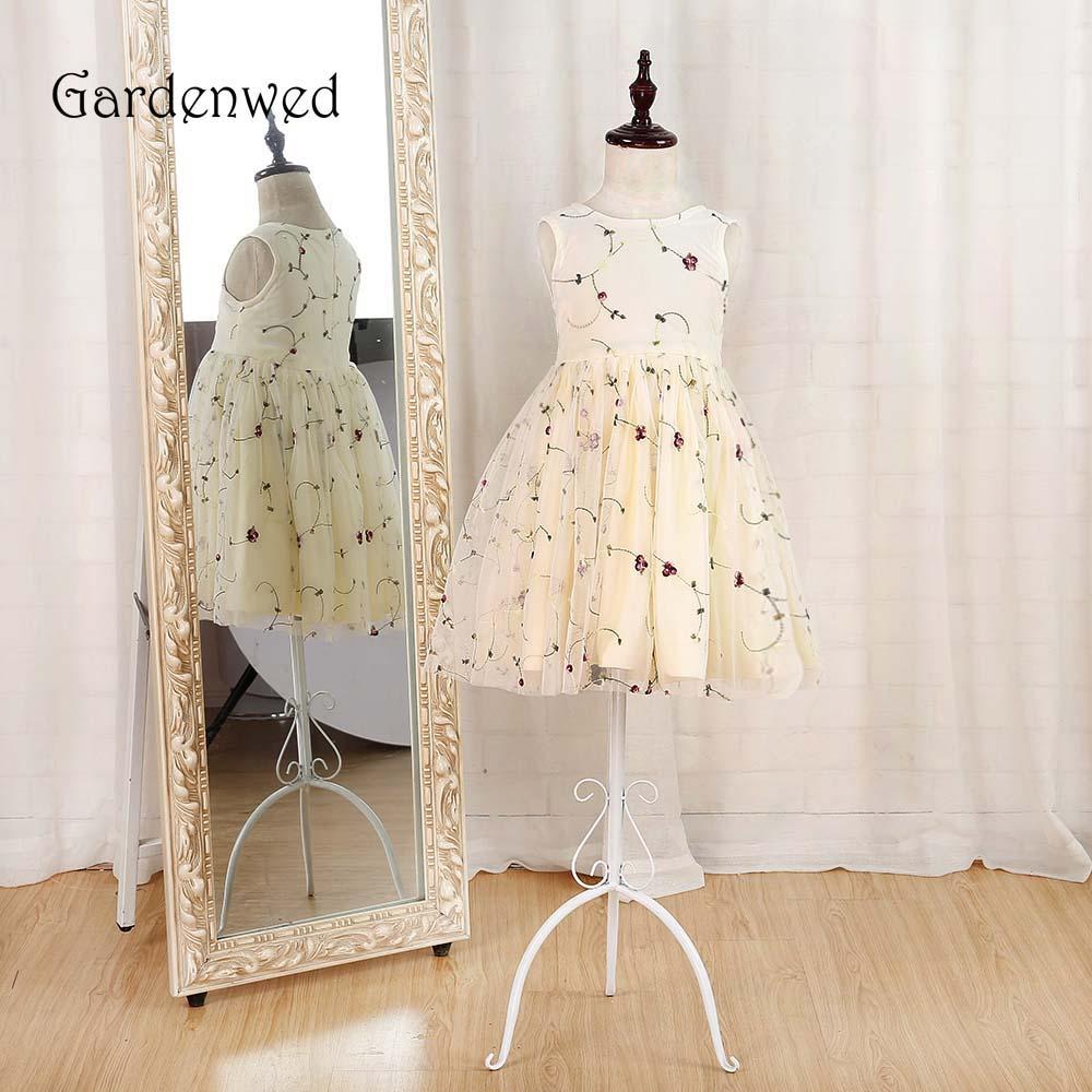 Gardenwed New Arrival Printed   Flower     Girl     Dress   Hot Cheap Sleeveless First Communion   Dresses   for   Girls   Whole Sale