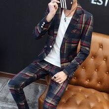 Мужские модные тонкие костюмы мужские деловые повседневные костюмы 2 шт свадебный костюм брюки Мужской Блейзер высокого качества набор брюк