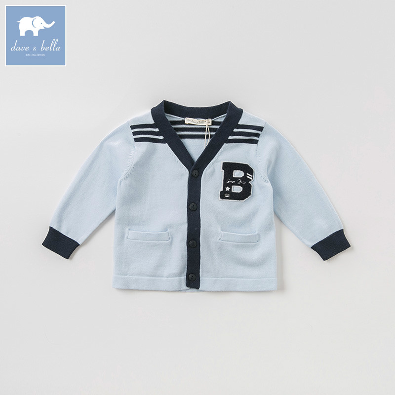 DB8474 dave bella autumn infant baby boys fashion blue cardigan kids toddler coat children knitted sweater