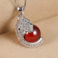 925 sterling silver jewelry authentic Korean fashion exquisite inlaid garnet pendant female elephant micro wholesale