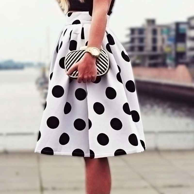 2015 Autumn&Winter Casual Black Dots Print Pleated Midi Skater Skirt High Waist Skirt Saia For Women Girl HigH Quality