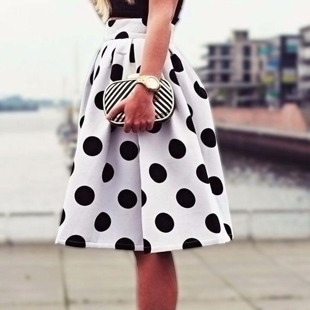 0261618911 2015 Autumn&Winter Casual Black Dots Print Pleated Midi Skater Skirt High  Waist Skirt Saia For Women Girl HigH Quality