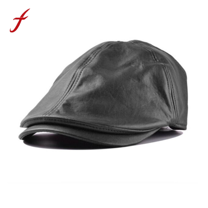 Mens Women Vintage Leather Beret Cap Peaked Hat Newsboy Sunscreen