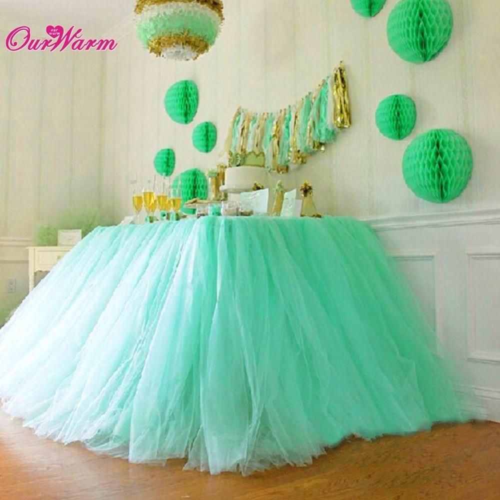2 pcs / Lot Banyak Tulle TUTU Rok Tulle Peralatan Makan untuk Pernikahan Dekorasi Pesta Ulang Tahun Baby Shower untuk Membuat Fantastic Wonderland