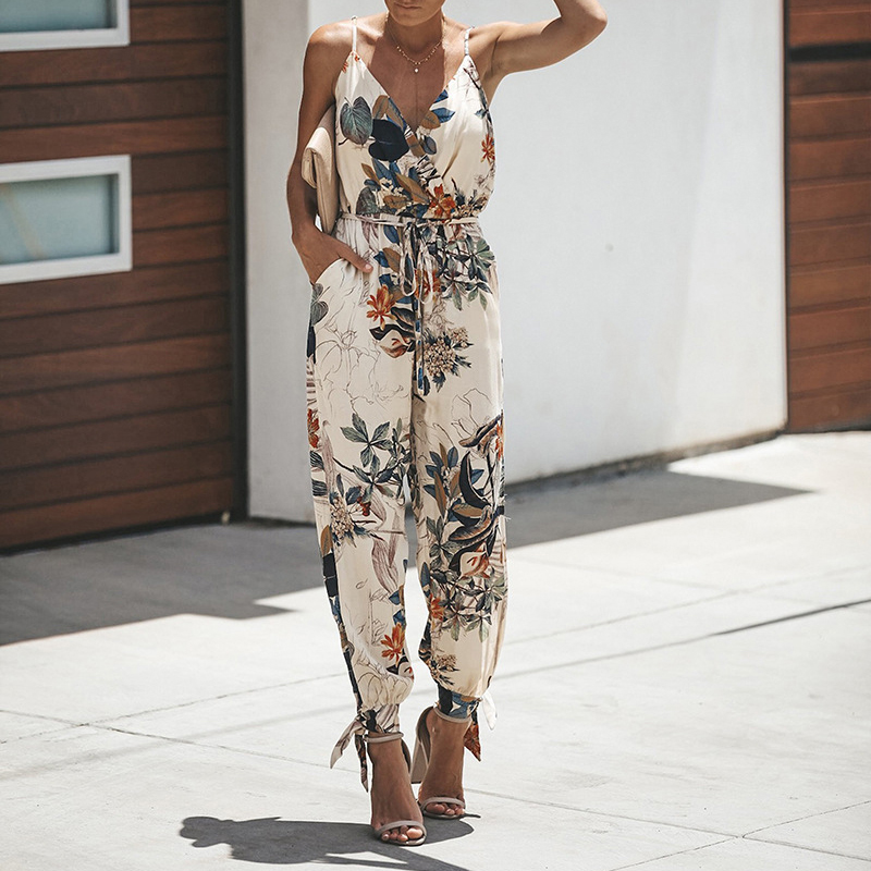 Jumpsuits   for Women 2019 New Sexy Spaghetti Strap Lace Up Summer   Jumpsuit   Women Casual Sleeveless Pockets Long Romper Female