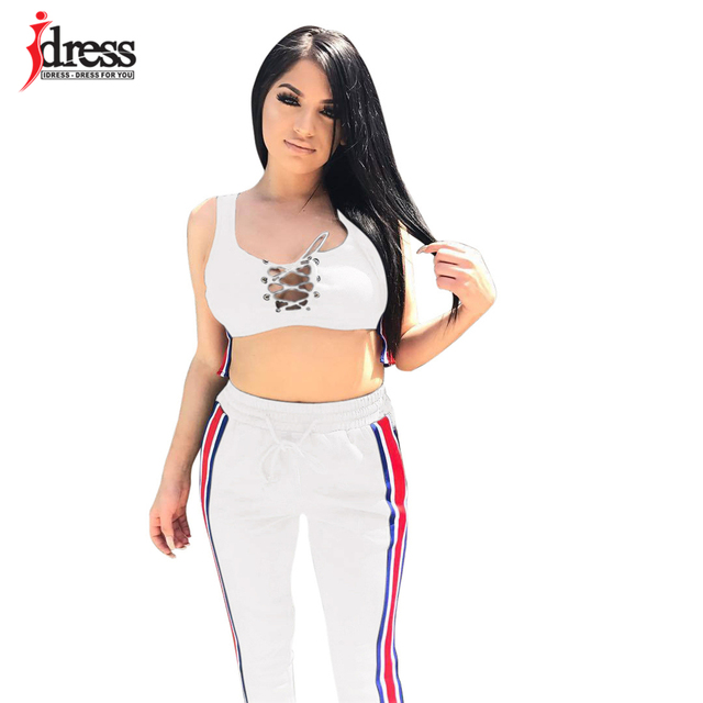 a2495fbe6174fe IDress New 2018 Women Brand Two Piece Set Side Striped Crop Top And Leggings  Fitness Set Hooded Tops+Pants Cropped Tracksuit