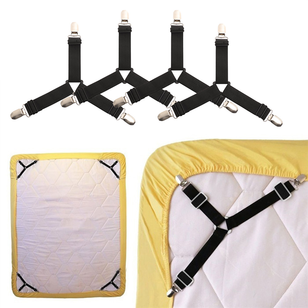 4pcs Adjustable Bed Sheets Clips Tablecloths Sofa Sets Elastic Fasteners Grippers Holder Tent Bed Button Metal Buckles Ap2407 Traveling Home & Garden Apparel Sewing & Fabric