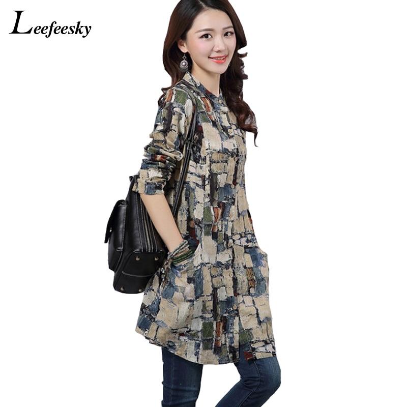ddad09e5f74c9 Cotton Linen Long Shirt 2017 Brand New Long Sleeve Women Blouses Plus Size  Korean Fashion Clothing
