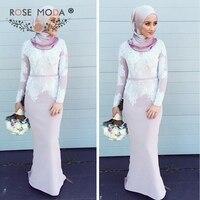 Роза Moda с длинными рукавами Мусульманский платье подружки невесты с кружевом