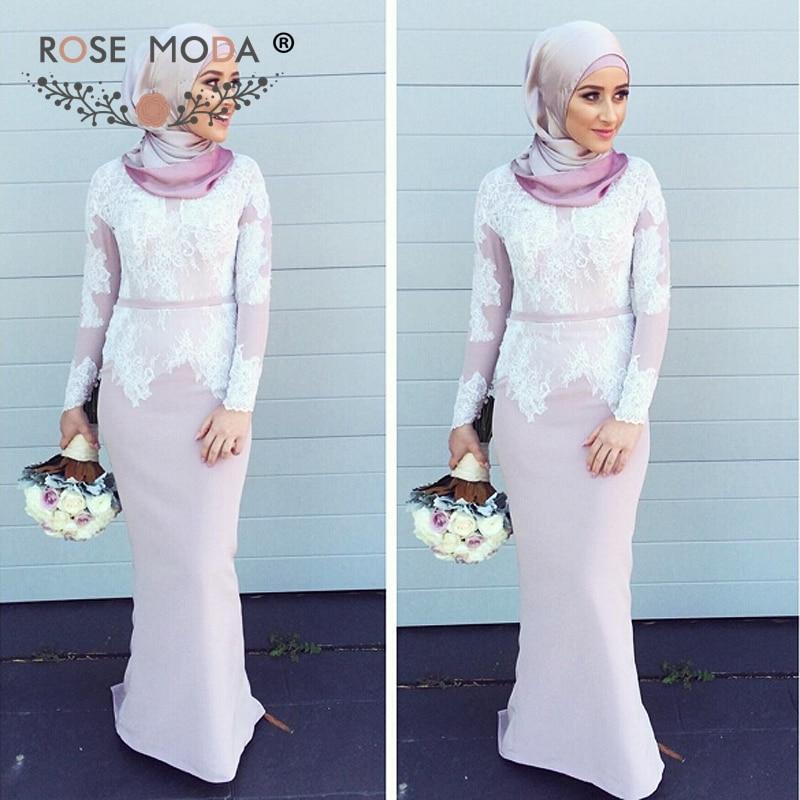 Rose Moda Classic Long Sleeves Muslim Bridesmaid Dress ...