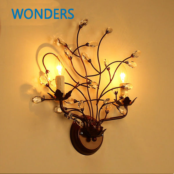 Crystal Wall Lamp bronze Candle lamp American country branches shape E14 Bulbs artificial bunch with 11 branches