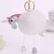 Lovely Fluffy Unicorn Keychains Keyrings Horse Bag Pendant Artificial Rabbit Fur Key Chain Ring Holder For Car(China)