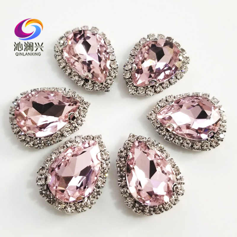 Free shipping Top grade Silver bottom Glass Crystal buckle,Pink Drop shape sew on rhinestones,Diy/wedding decoration SWSKY09