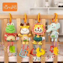 Купить с кэшбэком Tumama Baby Rattles 4pcs/set Plush Animal Hanging Mobiles Baby Toys Antibiosis No dropping Educational Toys For Newborn Kids Toy