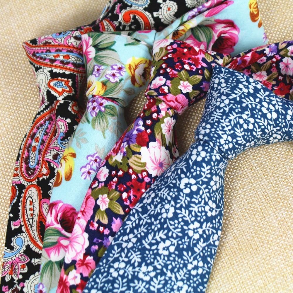 RBOCOTT Nuevo diseño 8 cm Lazos de algodón para los hombres Lazo de Paisley Lazos florales Para hombre Corbata clásica del banquete de boda del negocio Corbatas