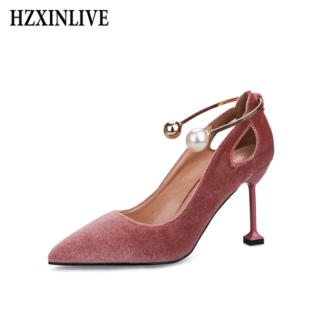 4bef18c47 HZXINLIVE Sexy High Heels Women's Shoes Pumps Retro Suede Leather Pearl  Ladies Shoes Platform Heels Luxury Party Women Shoes