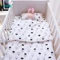 3 pçs/set conjunto fundamento do bebê berço cama para recém-nascidos de algodão preto branco nuvens gota de chuva projeto folha plana de capa de edredon fronha