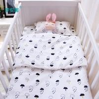 3 pçs/set conjunto fundamento do bebê berço cama para recém nascidos de algodão preto branco nuvens gota de chuva projeto folha plana de capa de edredon fronha|crib bedding|designer crib beddingbaby bedding set -