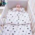 3 unids/set bebé ropa de cama cuna juego de cama de algodón para recién nacido negro blanco nubes raindrop diseño hoja plana funda nórdica funda de almohada