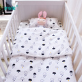 3pcs/set baby bedding set cotton crib bedding for newborn black white clouds raindrop design flat sheet duvet cover pillowcase