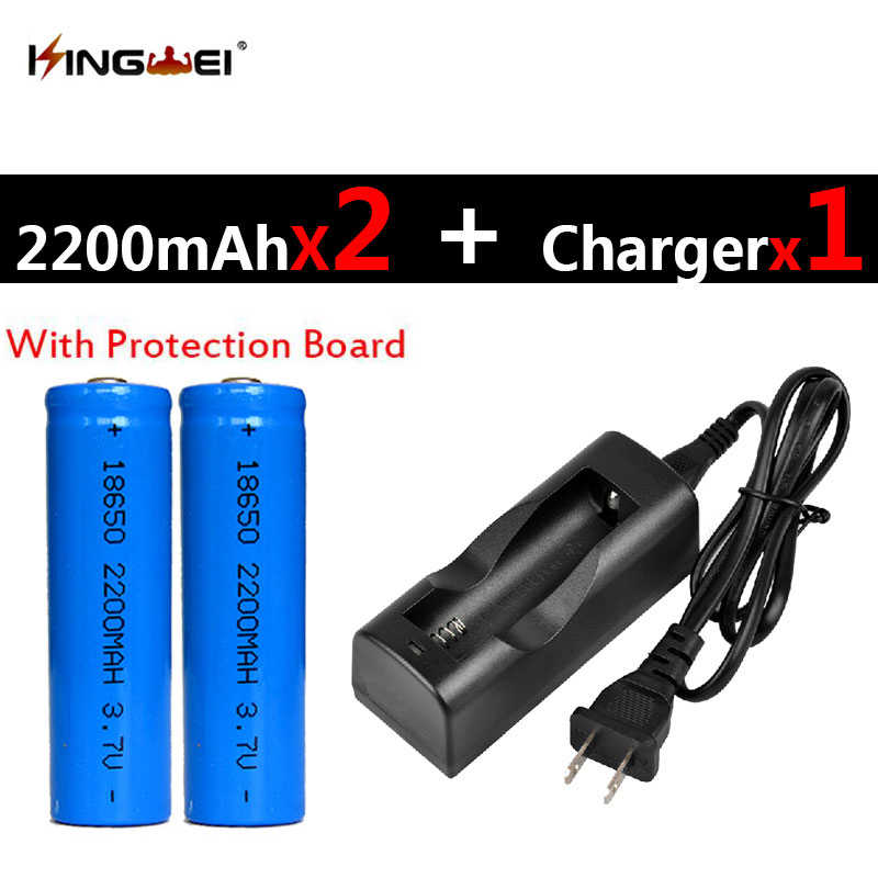 Hot Sale 2Pcs Protected 18650 Batteries 3.7v 2200mah Rechargeable Li-ion Battery+1pc NK-803C 18650 Charger for Headlight US/EU