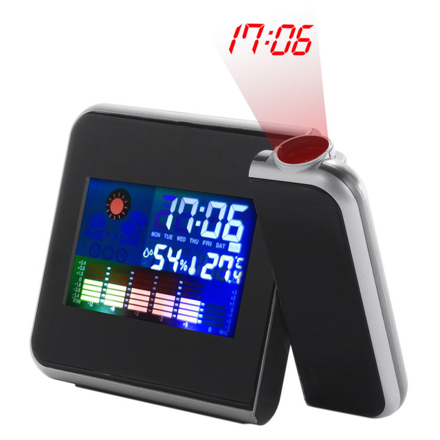 1Pc 2017 New Arrival Home Use Black Digital LCD Screen Weather Station Forecast Calendar Projector Alarm Clock Dree Shipping