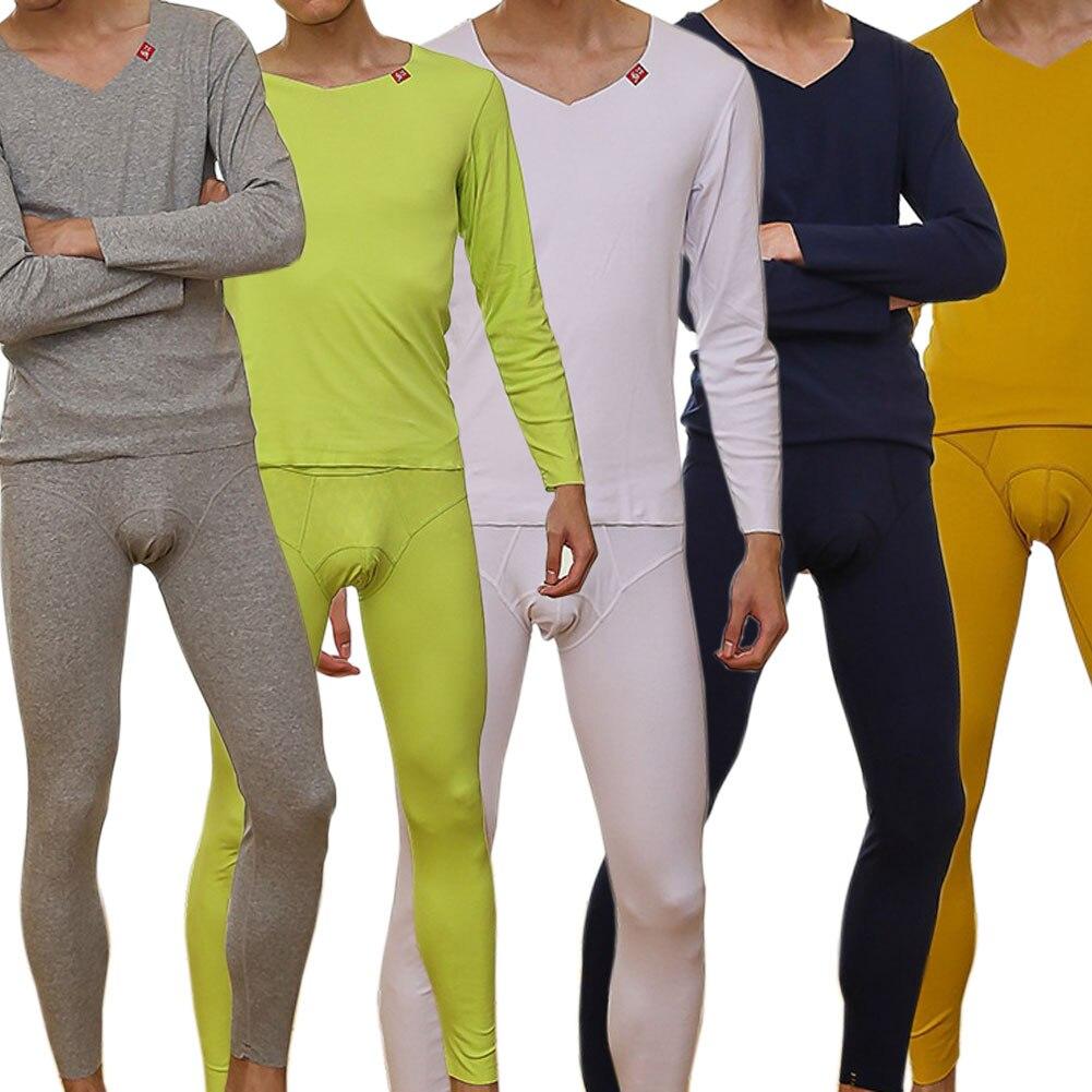 Winter Thermal Underwear Sets Suit For Men Cotton Pajama Sleep Bottoms Set Long Johns Bodysuit Casual Homewear LB