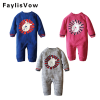 Baby Rompers Cute Cartoon Lion Cotton Knitted Fleece Sweater Kids Soft Rompers Newborn Infant Warm Jumpsuit