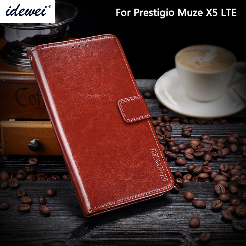 IDEWEI For Prestigio Muze X5 LTE Cover Luxury Leather Phone Case For Muze X5 LTE PSP5518DUO Protective Flip Case Wallet Case