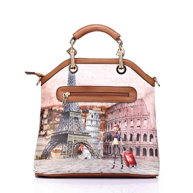 Realer женщина 3 шт. Отпечатано женщин сумки Большая сумка из искусственной кожи плеча сумки женские маленькие портмоне