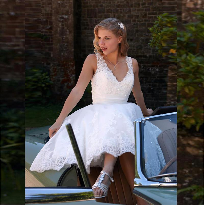 Backless Beach Wedding Dresses V Neck Flowing Vintage Boho: Vintage 2016 Summer Knee Length Wedding Dresses For Beach