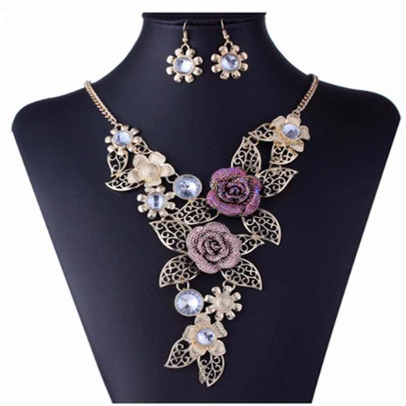 Austrian Crystal Rose Flower Leaf Jewelry Sets For Women Wedding African Costume Jewelry Maxi Necklace Earring Set Jewellery