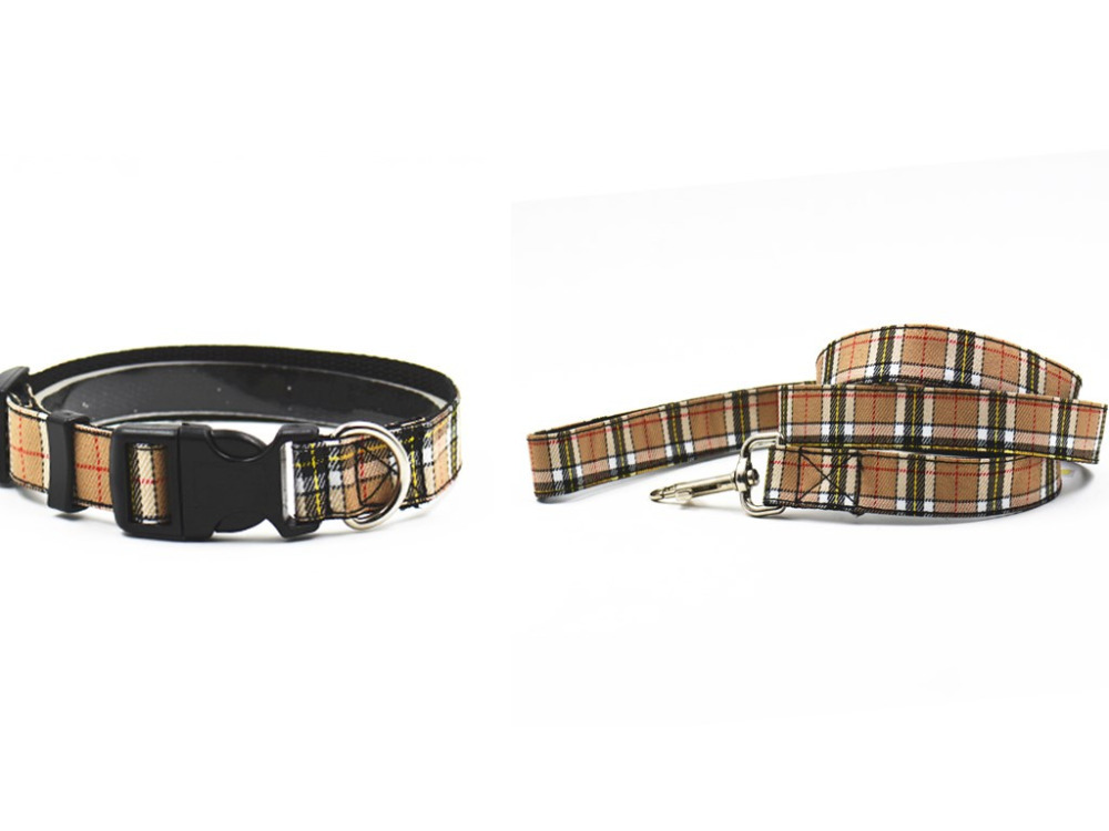 dog collar leash nylon adjustable size for small and medium sized dogs S L pet collar lead Beige Red supply