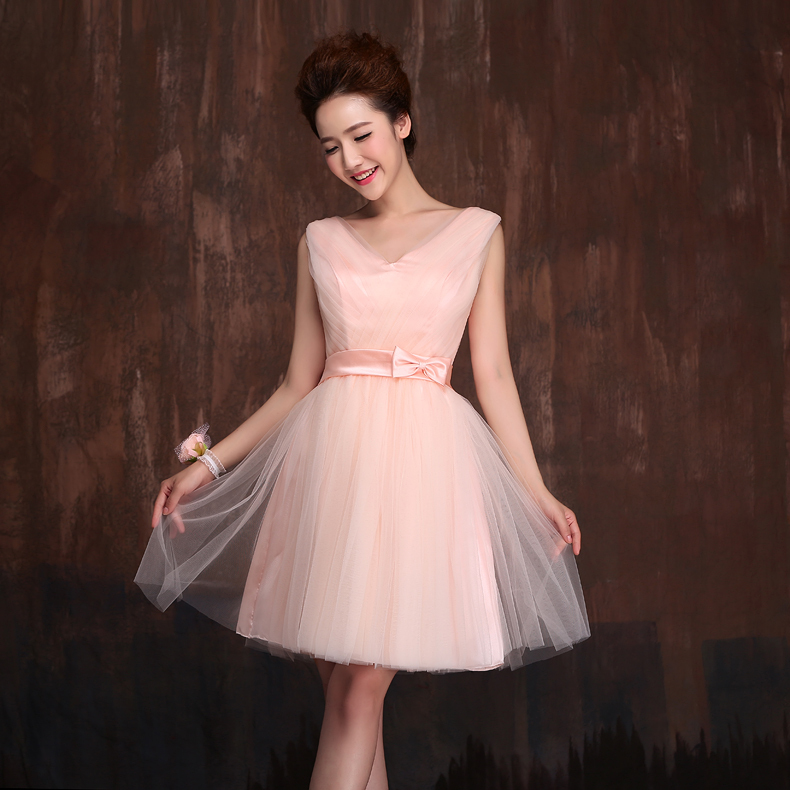 High Low Bridesmaid Dress Light Pink Short Front Long Back Puffy ...
