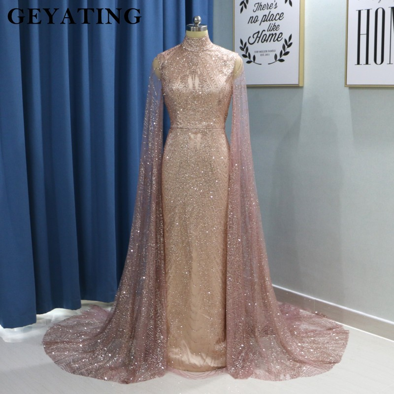 Saudi Arabic High Neck Prom   Dresses   Long Sleeves Mermaid   Evening     Dress   With Cape 2019 Sparkly Women Formal Long Party Gowns