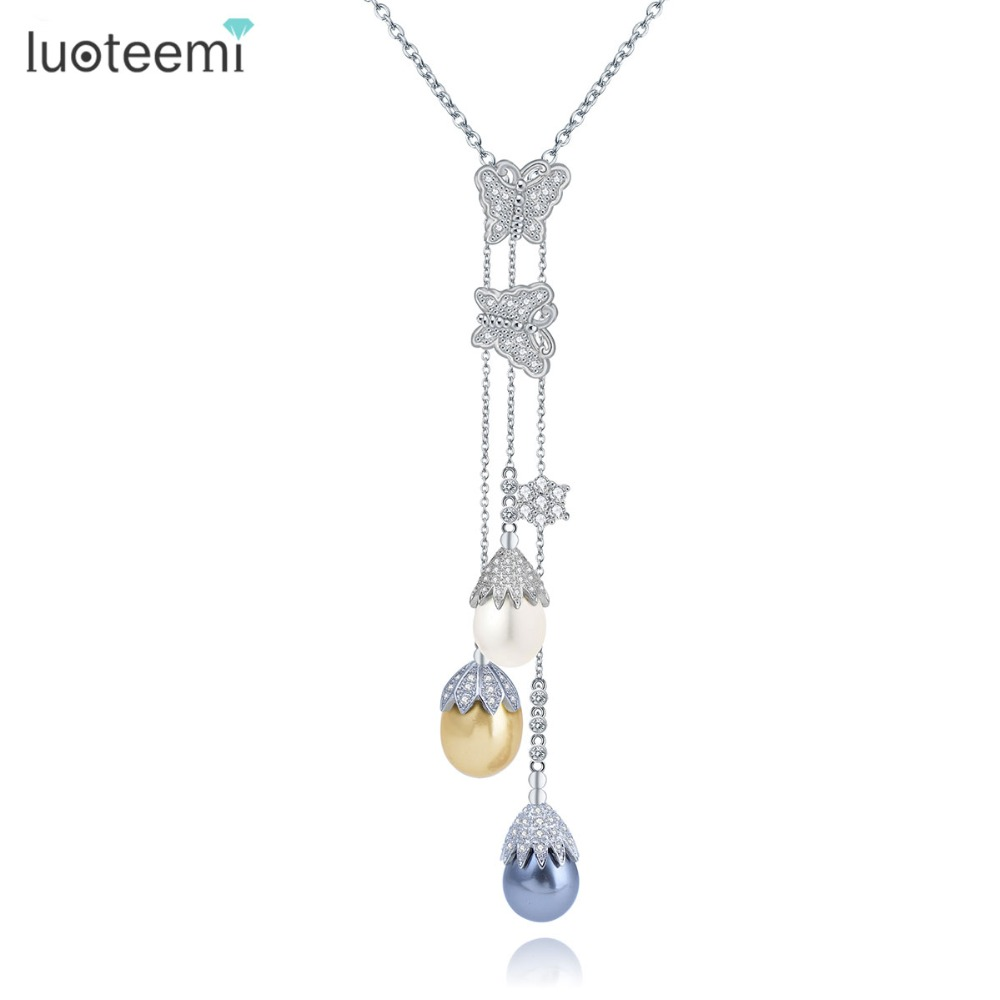LUOTEEMI Fashion CZ Crystal Butterfly With Multi-Color Imitated Waterdrop Pearl Drop Long Tassel Chain Necklace For Women