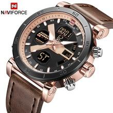 Элитный бренд для мужчин модные спортивные наручные часы naviforce кварцевые цифровые часы человек кожа Военная Униформа наручные relogio masculino