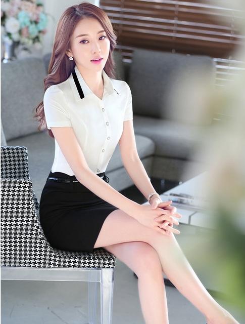 Uniforme Formal de Projeto Profissional Escritório Ladies Trabalho Desgaste Ternos Conjuntos Outfits Tops E Saia 2016 Verão Magro Moda Feminina