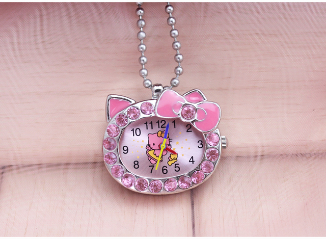 Charming cute beautiful hello kitty key chain fashion jewelry Pocket Watch neckl