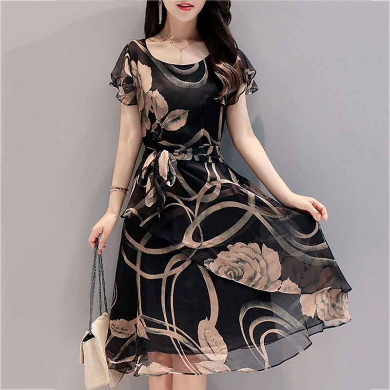 New Fashion Chiffon Dress Large Outer Space Casual Floral Print Women Summer Round Neck Printed Bowknot Chiffon Skater Dress