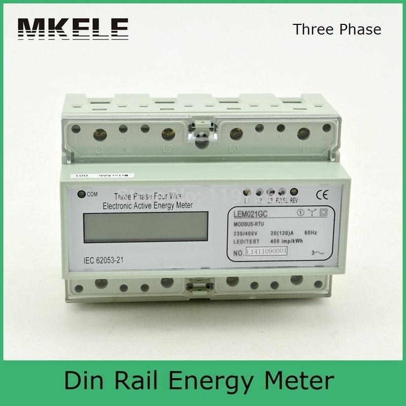 Modbus RTU Din Rail MK-LEM021GC portable digital LCD three phase energy meter free shipping sdm630 modbus rs485 din rail kwh three phase energy meter 100a solar pv energy meter rtu digital meter