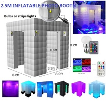 Wedding, party backdrop 8ft/2.5m inflatable portable photo booth with LED lights color changing and Inner air blower For Party