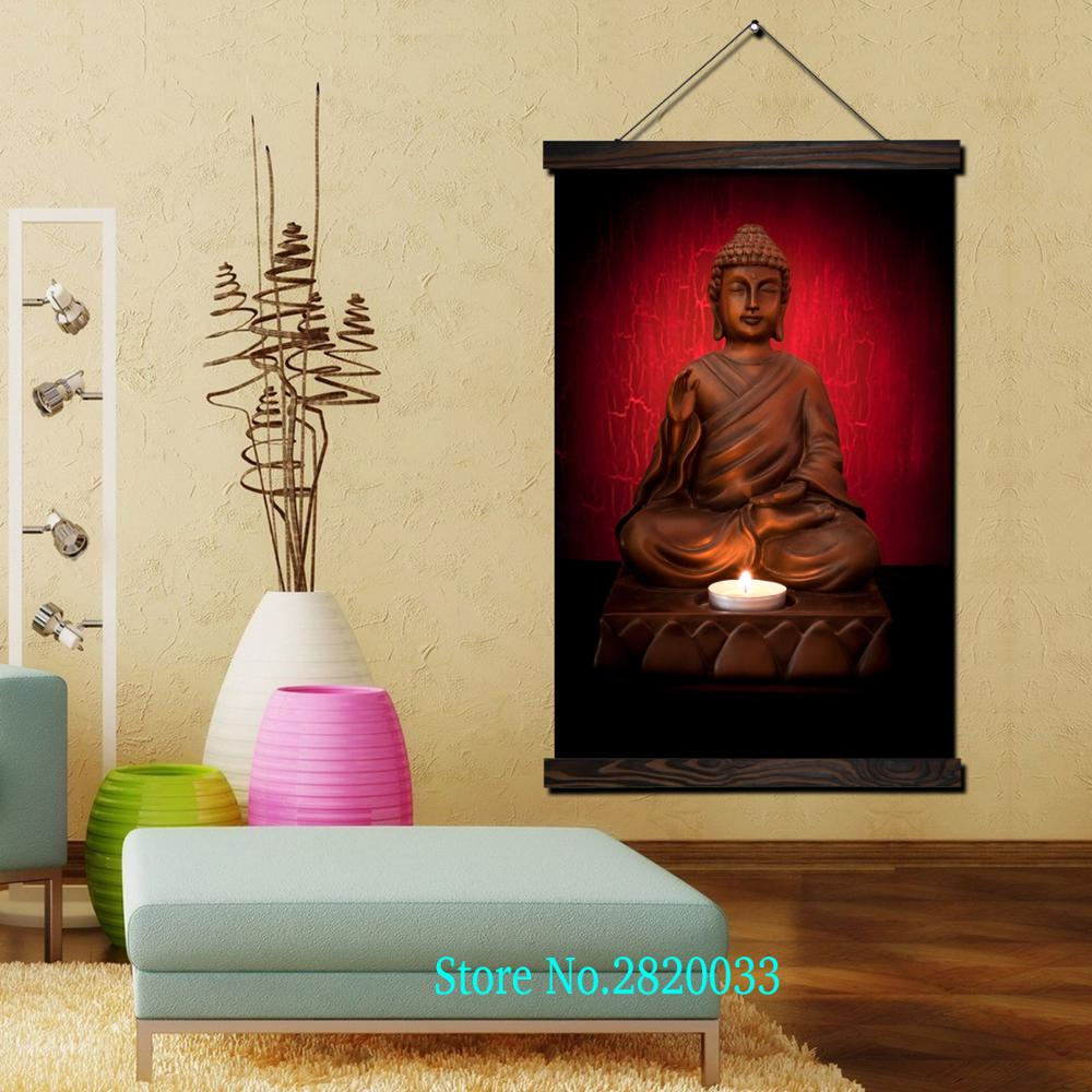 Buddha Candlelight Framed Scroll Painting HD Wall Art Hanging Canvas ...