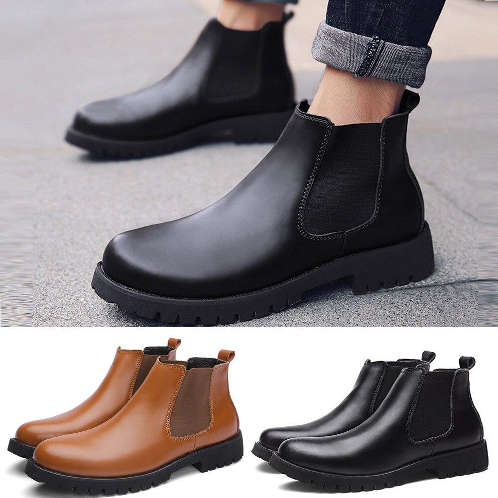 23ba5165 Cortos Tacón Dama Moda Invierno Cuero Botas Cabeza Clásico Hombres Zapatos  Bajo Planos Antideslizantes marrón Negro ...
