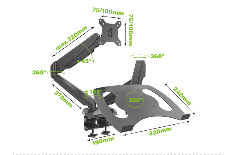 10-27 DL-J224L tiltable dual arm lcd desktop Mount swivel monitor table stand clamp with laptop bracket stand